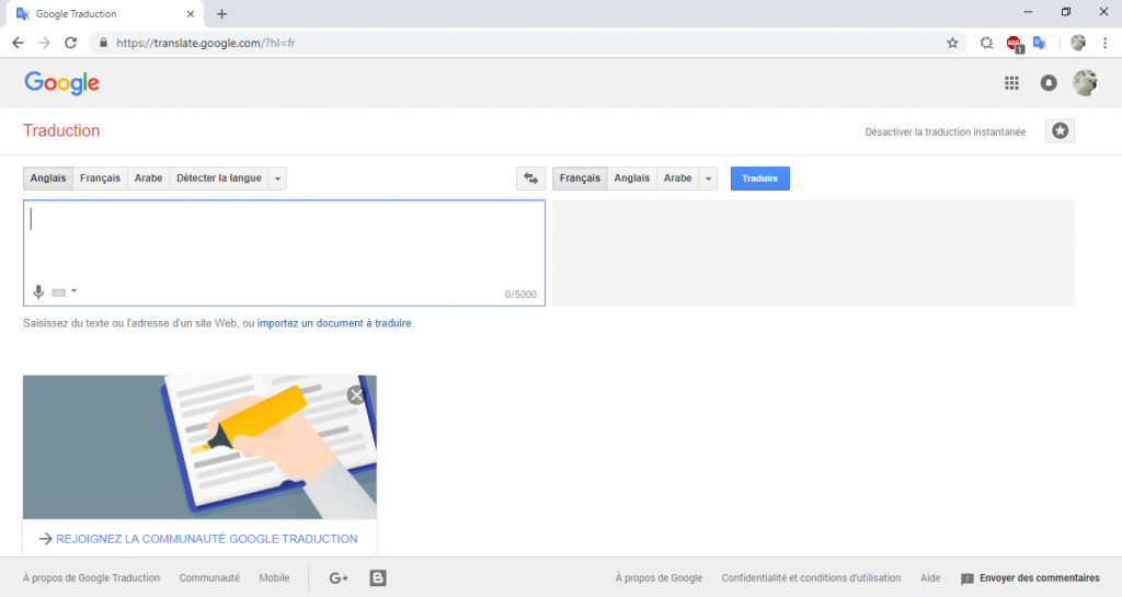 Ancien design de Google Traduction