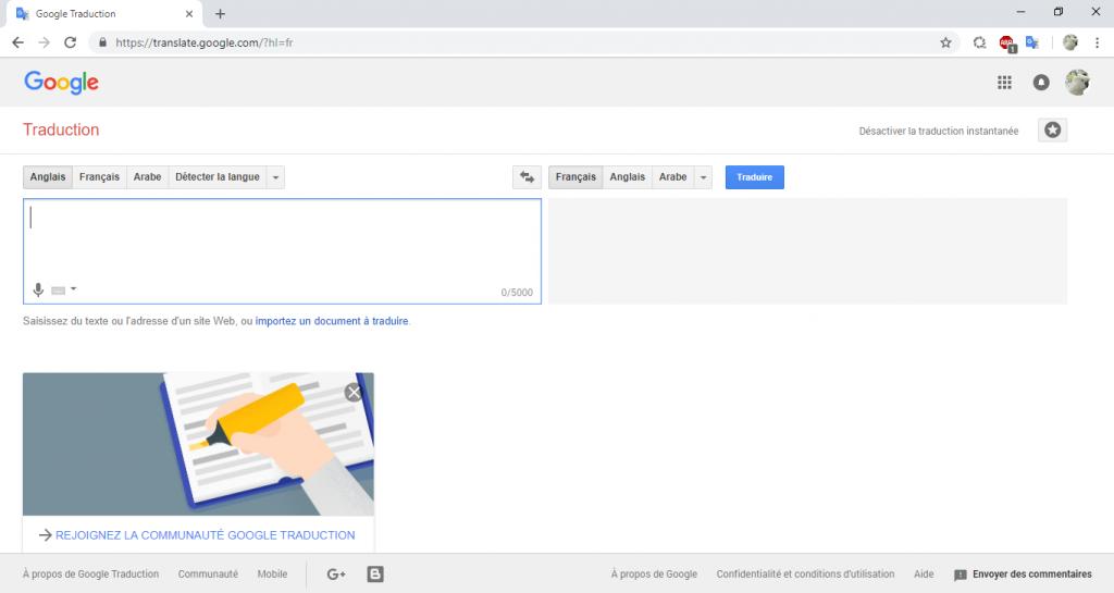 Ancien design de Google Traduction