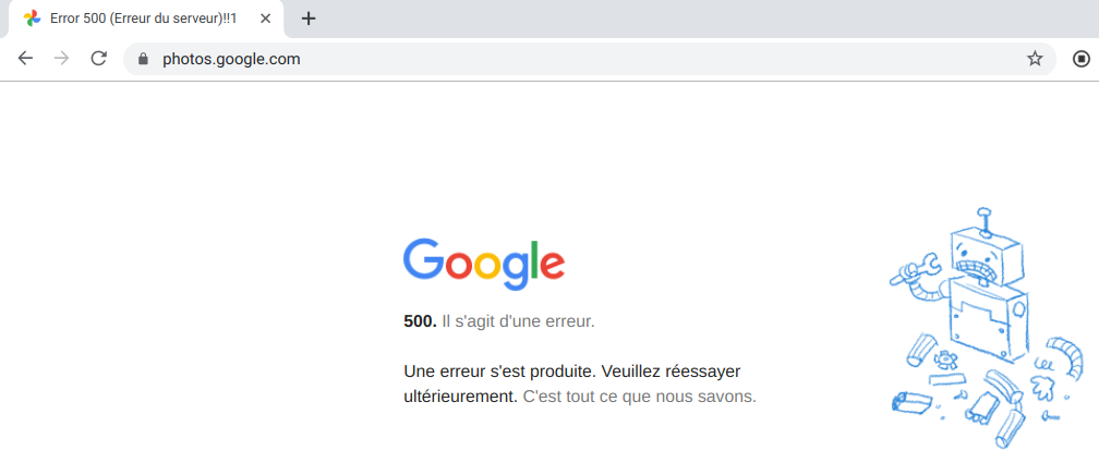 Google Photos en panne